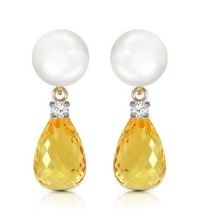 STUD EARRINGS WITH DIAMONDS, CITRINE & PEARL